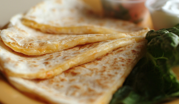 Two Quesadillas with beans and rice